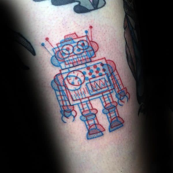 Red And Blue Ink Robot Cool Simple Tattoo Ideas For Men On Arm