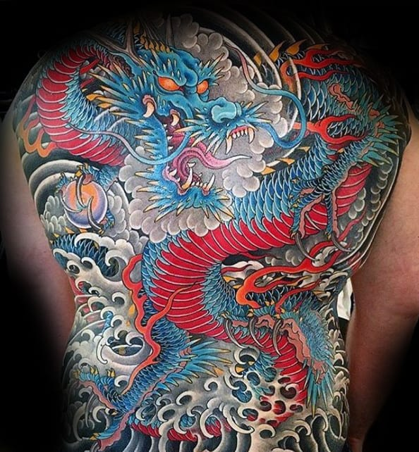 Red And Blue Japanese Dragon Male Full Back Tattoos