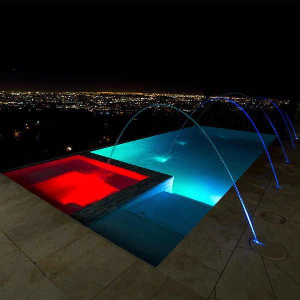 Red And Blue Led Pool Lighting Cool Backyard Ideas