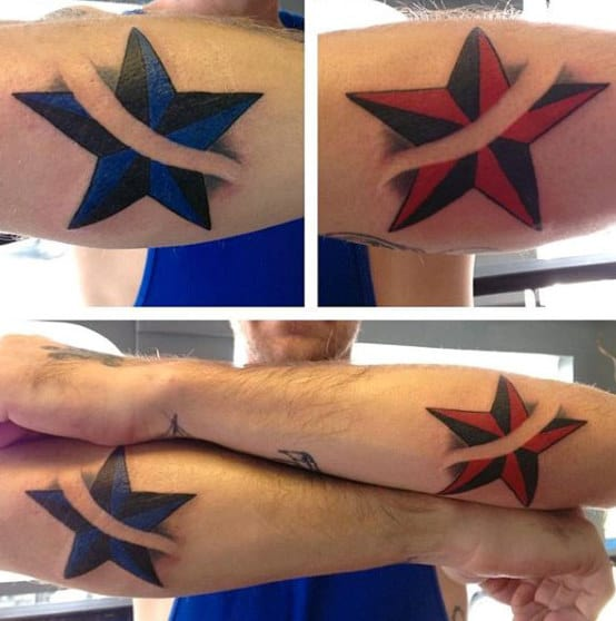Red And Blue Nautical Star Mens Tattoos On Forearm