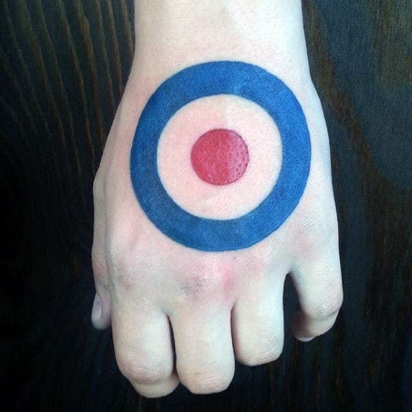 Red And Blue Target Circle Hand Tattoo For Men