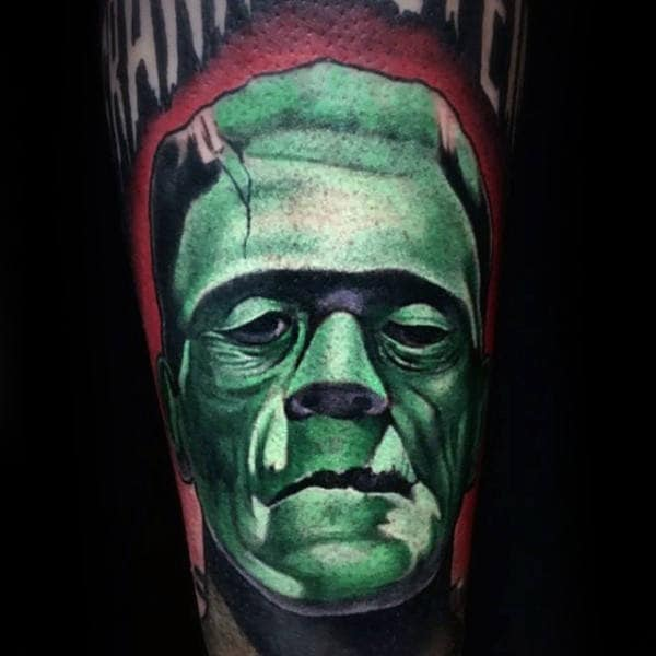 Red And Green Ink Guys Frankenstein Sleeve Tattoo