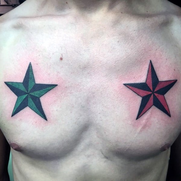 Red And Green Nautical Stars Tattoos For Men On Upper Chest