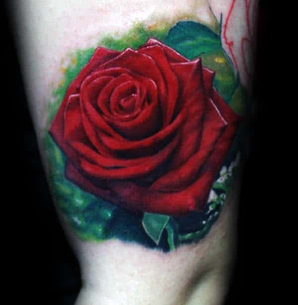 Red And Green Realistic Rose Mens Thigh Tattoos
