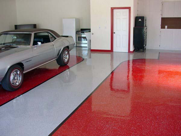 Red And Grey Epoxy Garage Flooring Ideas