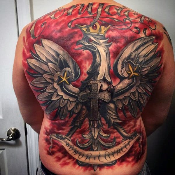 Red And Grey Ink Mens Full Back Polish Eagle Tattoo Design Ideas