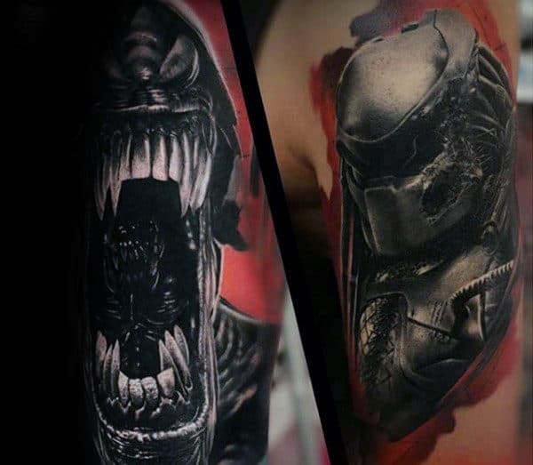 Red And Grey Ink Shaded Predator Male Arm Tattoos