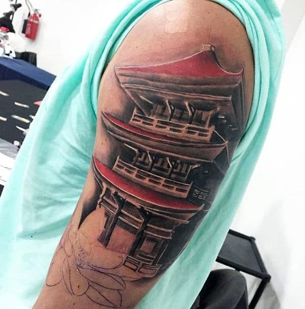 Red And Grey Shaded Guys Japanese Temple Upper Arm Tattoo