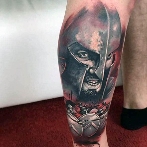 Red And Grey Shaded Ink Spartan Spear Mens Leg Sleeve Tattoo