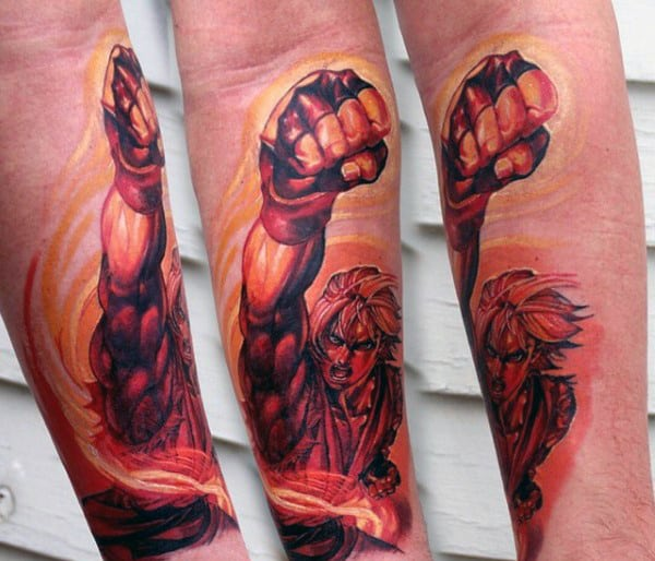 Red And Orange Ink Street Fighter Male Inner Forearm Tattoo Design Ideas
