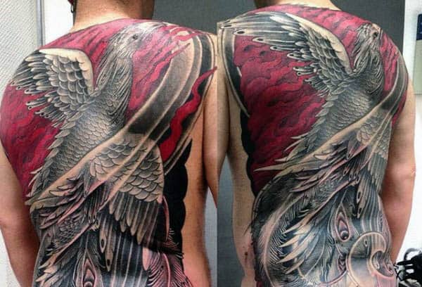 Red And Shaded Ink Mens Full Back Phoenix Tattoos