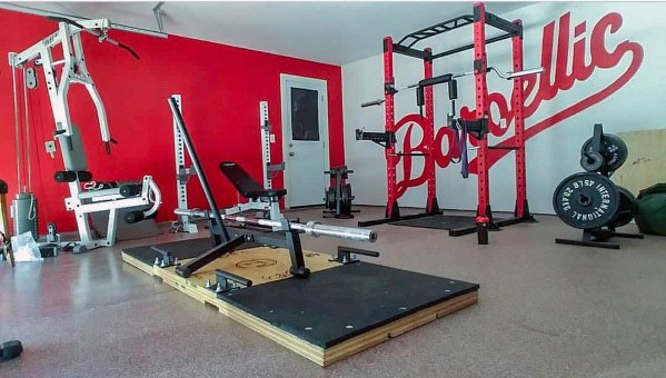 Red And White Garage Gym Ideas