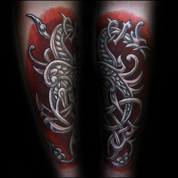 Red And White Ink Celtic Dragon Forearm Tattoos For Men