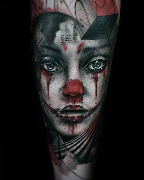 Red And White Ink Female Clown Portrait Guys Forearm Sleeve Tattoos