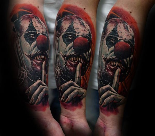 Red And White Ink Mens Realistic 3d Clown Forearm Tattoos