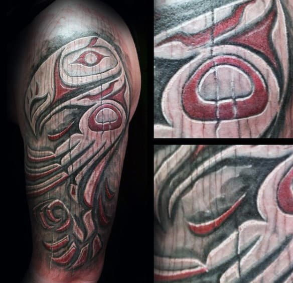 Red And White Ink Mens Shaded Wood Carving Haida Tattoos Half Sleeve