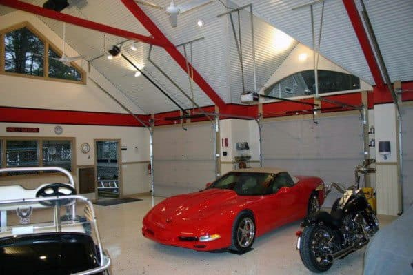 Red And White Painted Garage Ceiling Ideas