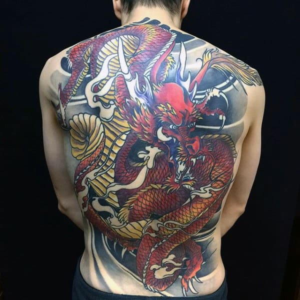 Red And Yellow Dragon Guys Full Back Tattoos