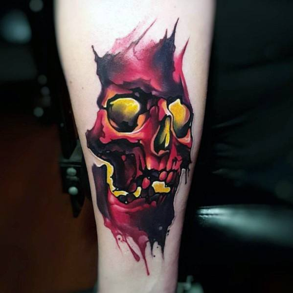 Red And Yellow Ink 3d Inner Forearm Watercolor Skull Guys Tattoos