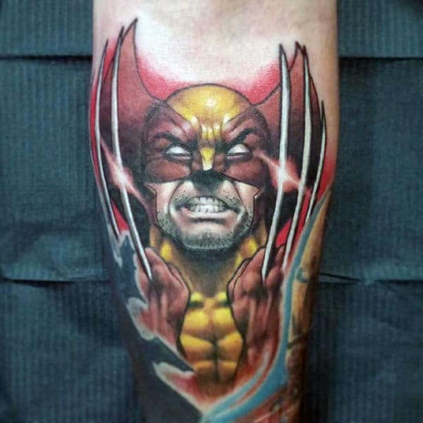Red And Yellow Male Wolverine Inner Forearm Tattoo Designs