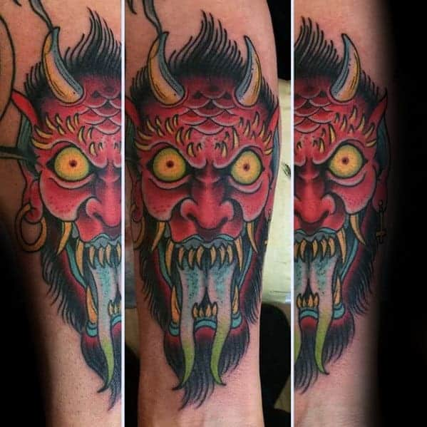 red-angry-traditional-devil-mens-inner-forearm-tattoo
