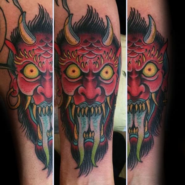 Red Angry Traditional Devil Mens Inner Forearm Tattoo