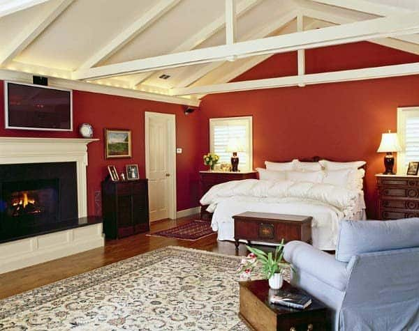 Red Bedroom Ideas With White Painted Ceiling And Beams
