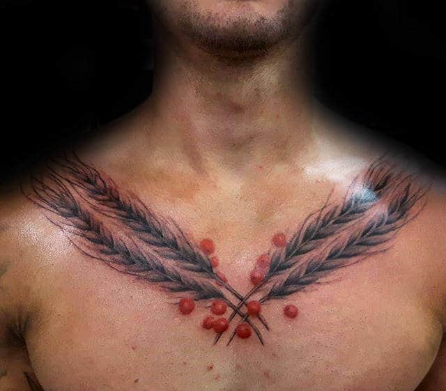 Red Berries With Wheat Stalks Male Upper Chest Tattoos