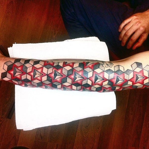 Red Black 3D Traingles And Cubes Tattoo Male Forearms