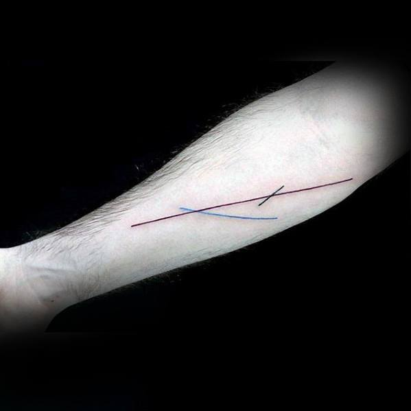 Red Black And Blue Mens Simple Line Tattoo Designs On Inner Forearms