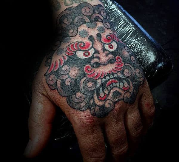Red Black And White Ink Mens Foo Dog Hand Tatotos
