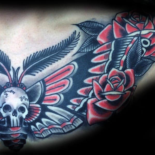Red Black And White Mens Old School Traditional Moth Chest Tattoo