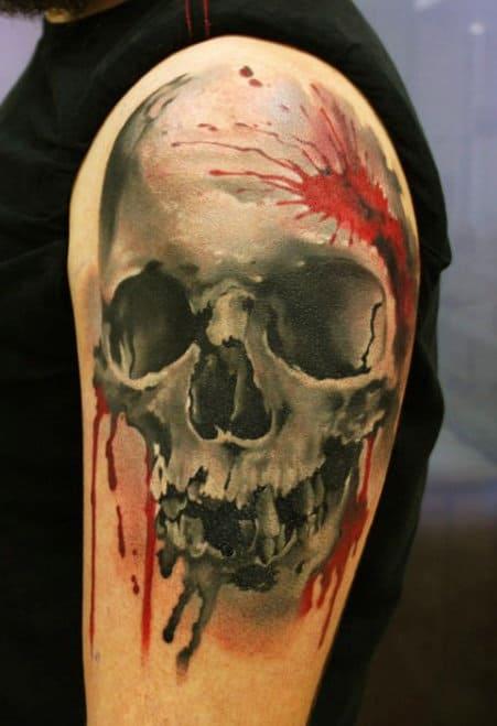 Red Black Men's Tattoo Skulls