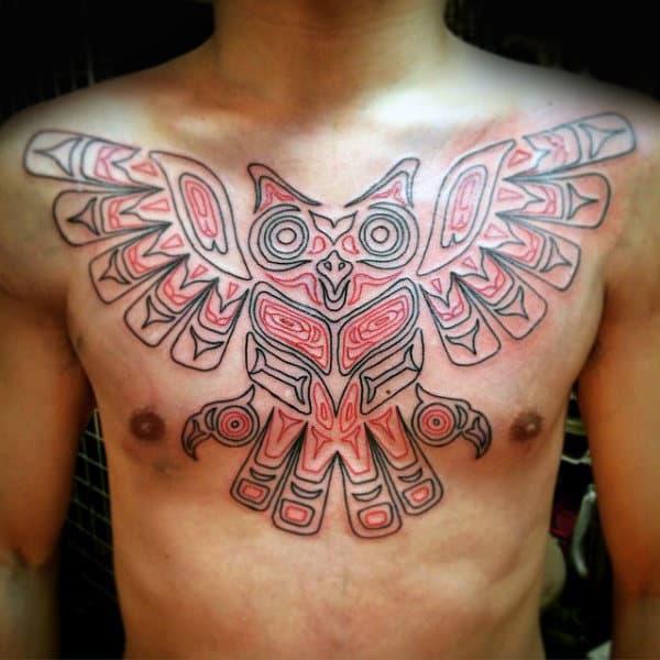 Red Blak Haida Owl Tattoo Male Chest