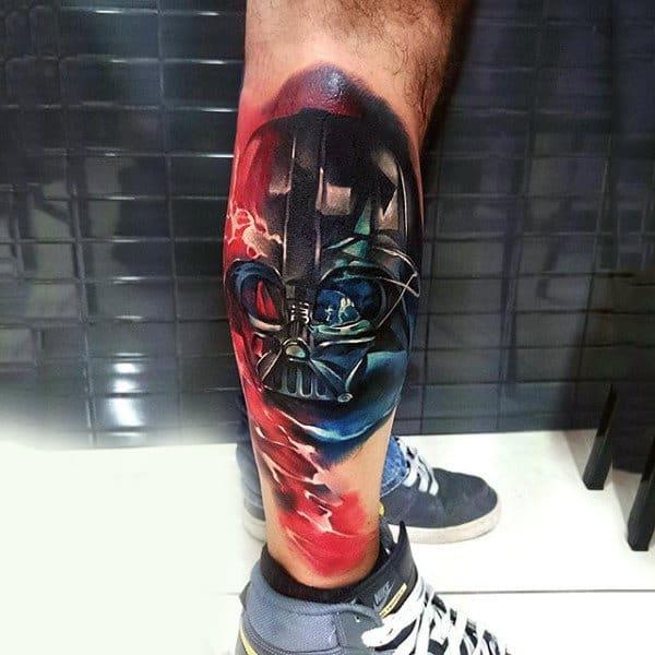 Red Blast Darth Vader Tattoo Mens Lower Legs