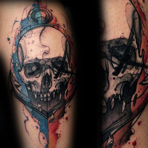 Red Blue And Black Ink Anchor Leg Artistic Male Watercolor Skull Tattoo Ideas