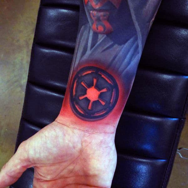 Red Blue Spiral Tattoo Male Forearms