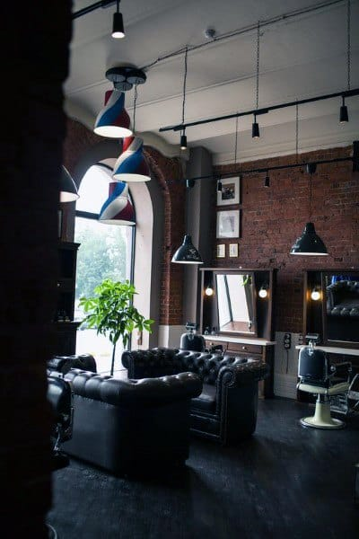 Red Brick Wall Industrial Themed Barber Shop Designs