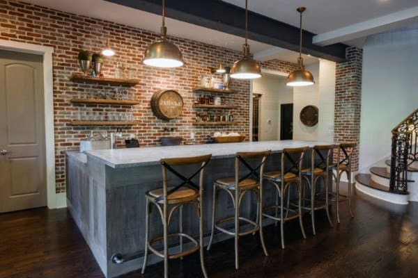 Red Brick Wall Rustic Bar Ideas