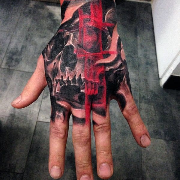 80 Skull Hand Tattoo Designs For Men Manly Ink Ideas