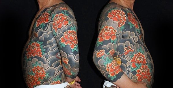 Red Carnation Flower Japanese Mens Full Body Tattoos