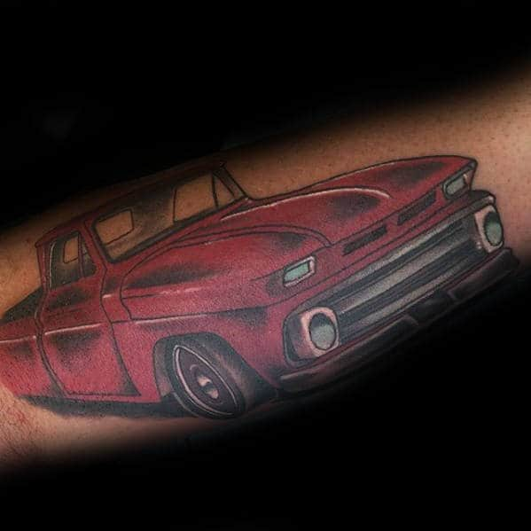 Red Chevrolet Truck Guys Old School Outer Forearm Tattoos