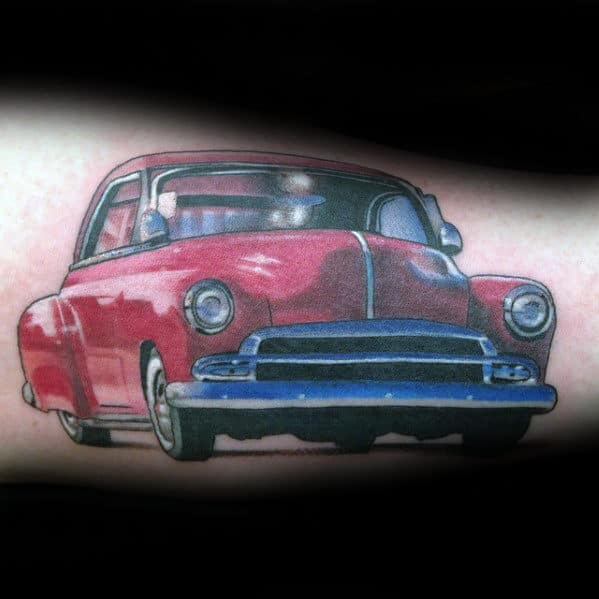 Red Chevy Coupe Mens Vintage Car Tattoo On Arm