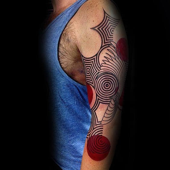 Red Circles With Geometric Lines Awesome Mens Abstract Arm Tattoos