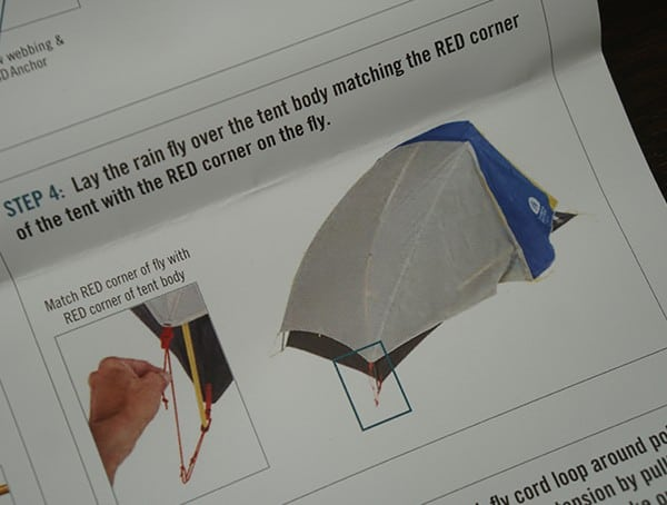 Red Corner Of Rain Fly Attached To Spike Sierra Designs Sweet Suite 3 Tent