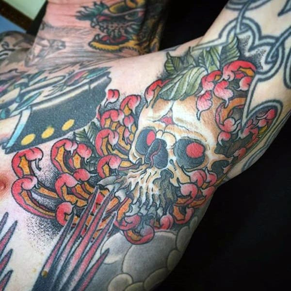 Red Crawling Fingers And Skull Tattoo Male Armpits