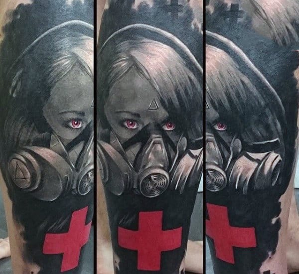 Red Cross Gas Mask Tattoo For Men On Forearm