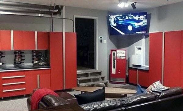 Red Custom Garage Storage Cabinets With Lounge Area