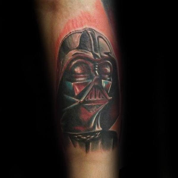 Red Darth Vader Tattoo Male Forearms