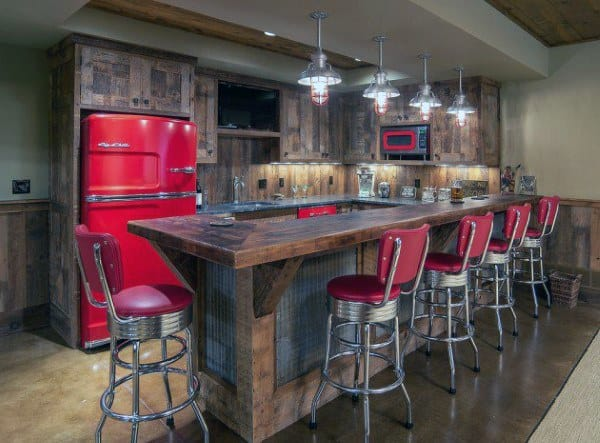 Red Decor Wood Rustic Bar Ideas